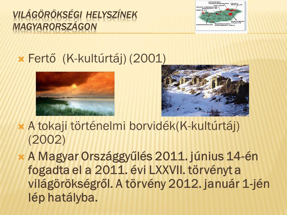  Fertő (K-kultúrtáj) (2001)  A tokaji történelmi borvidék(K-kultúrtáj) (2002)  A Magyar Országgyűlés 2011. június 14-én fogadta el a 2011. évi LXXV