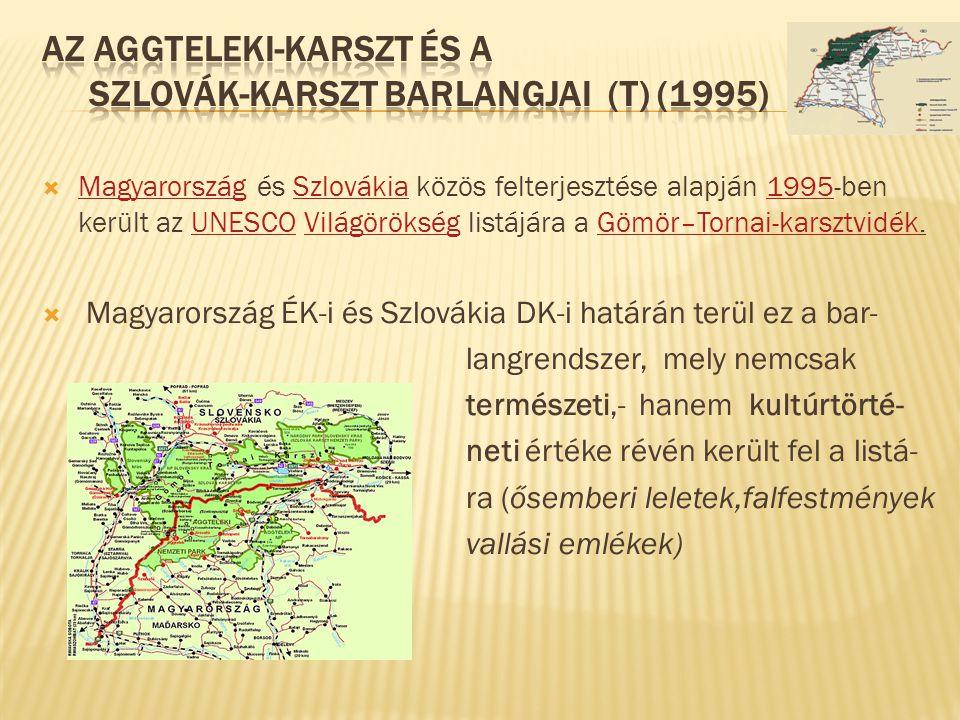  Magyarország és Szlovákia közös felterjesztése alapján 1995-ben került az UNESCO Világörökség listájára a Gömör–Tornai-karsztvidék. MagyarországSzlo