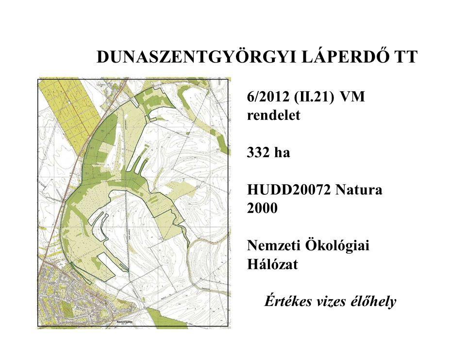 DUNASZENTGYÖRGYI LÁPERDŐ TT 6/2012 (II.21) VM rendelet 332 ha HUDD20072 Natura 2000 Nemzeti Ökológiai Hálózat Értékes vizes élőhely
