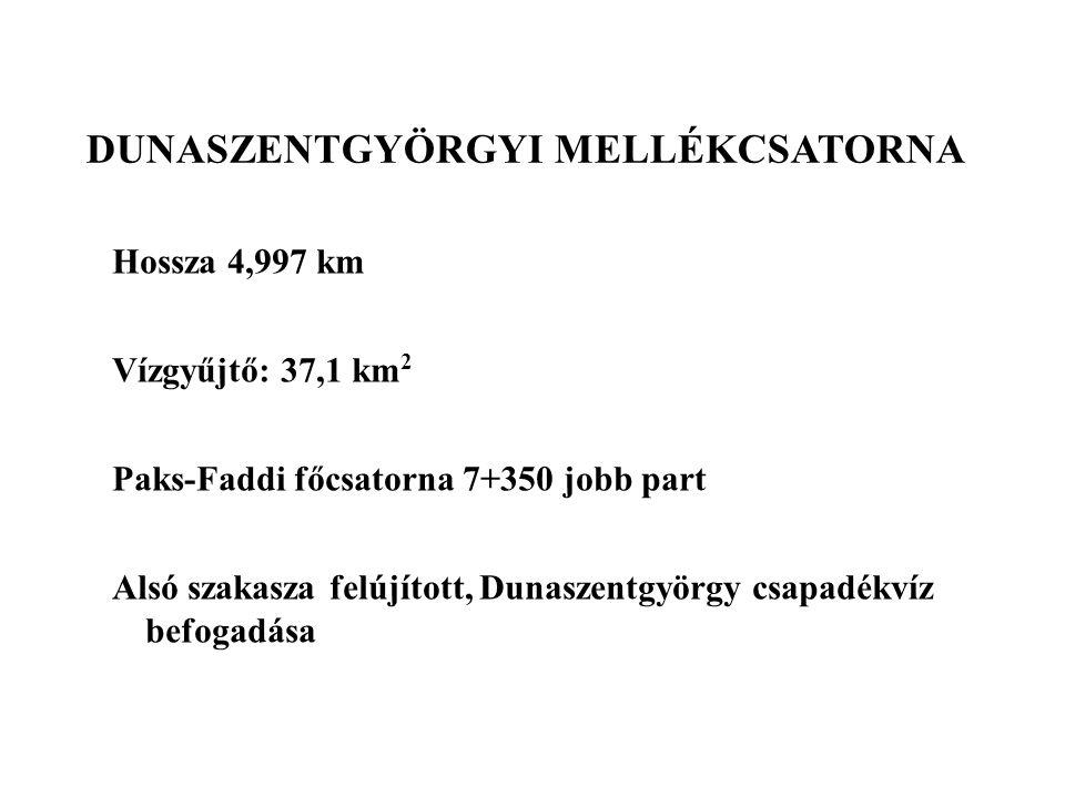 Hossza 4,997 km Vízgyűjtő: 37,1 km 2 Paks-Faddi főcsatorna 7+350 jobb part Alsó szakasza felújított, Dunaszentgyörgy csapadékvíz befogadása DUNASZENTG