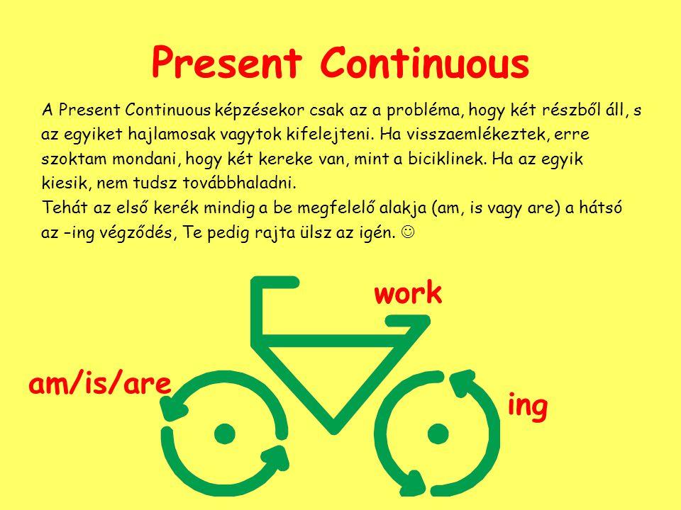 Present Continuous A Present Continuous képzésekor csak az a probléma, hogy két részből áll, s az egyiket hajlamosak vagytok kifelejteni. Ha visszaeml