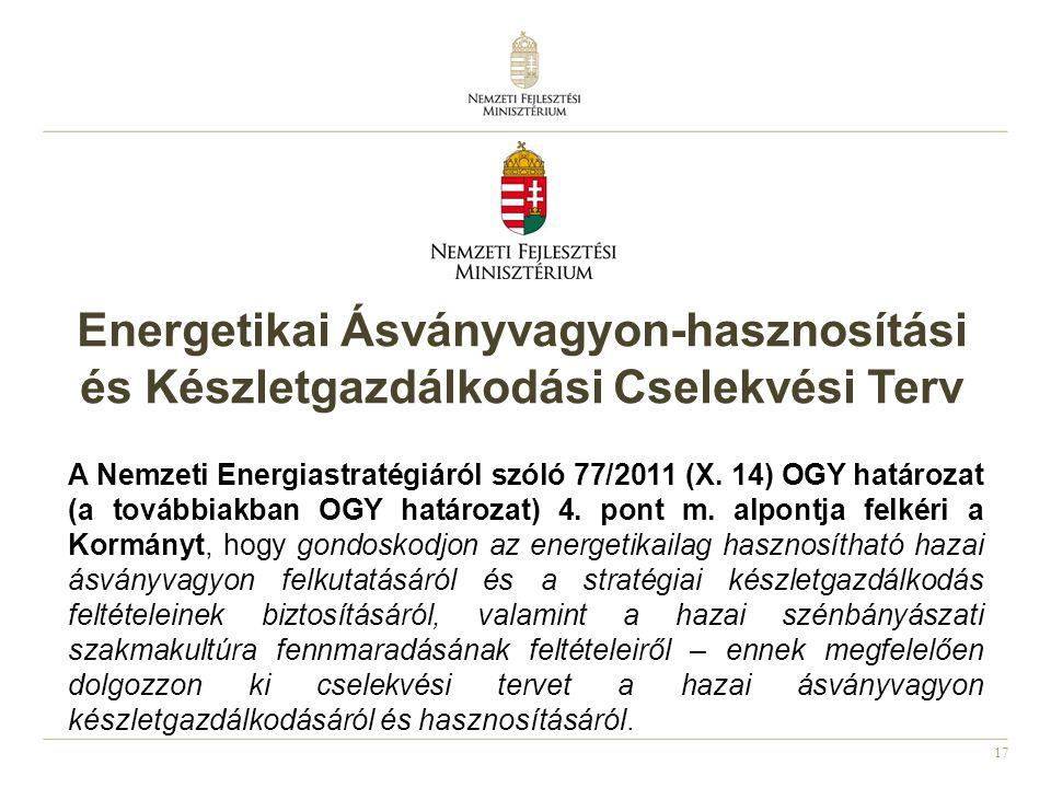 17 Energetikai Ásványvagyon-hasznosítási és Készletgazdálkodási Cselekvési Terv A Nemzeti Energiastratégiáról szóló 77/2011 (X.