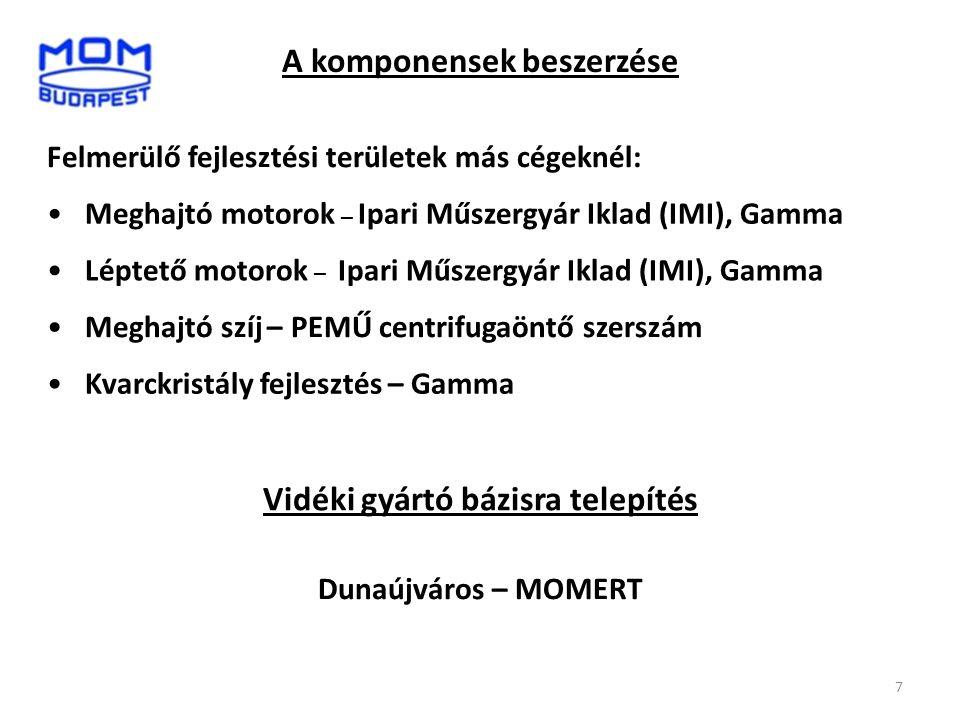 7 •Meghajtó motorok – Ipari Műszergyár Iklad (IMI), Gamma A komponensek beszerzése Felmerülő fejlesztési területek más cégeknél: •Léptető motorok – Ip