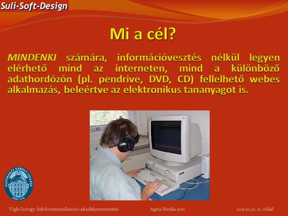 11. oldal Vigh György: Infokommunikációs akadálymentesítés Agria Media 2011 2011.10.12.
