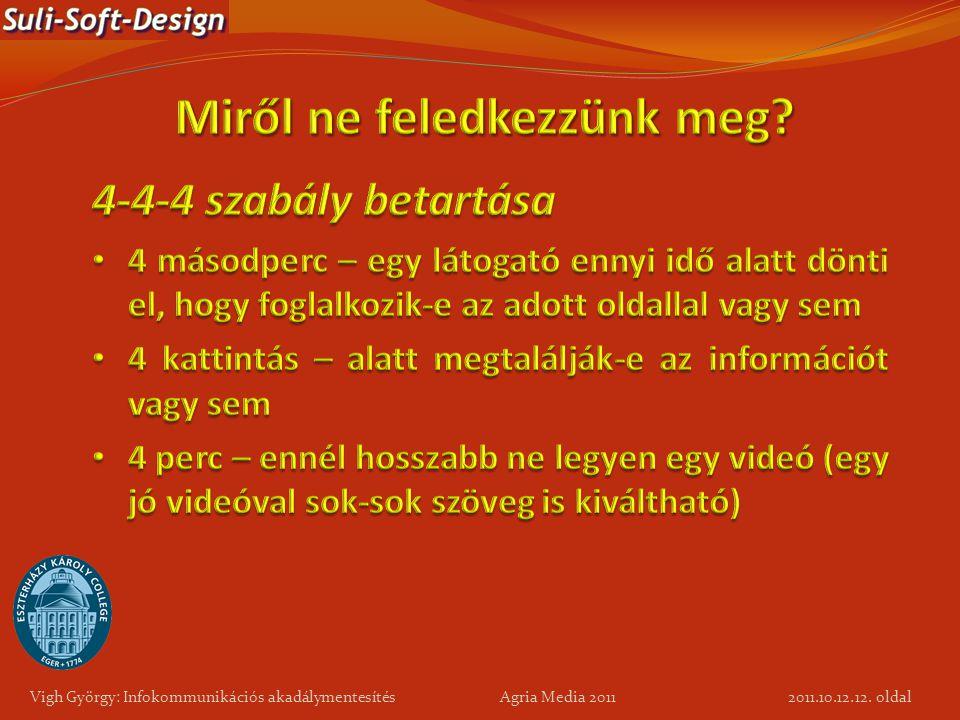 12. oldal Vigh György: Infokommunikációs akadálymentesítés Agria Media 2011 2011.10.12.