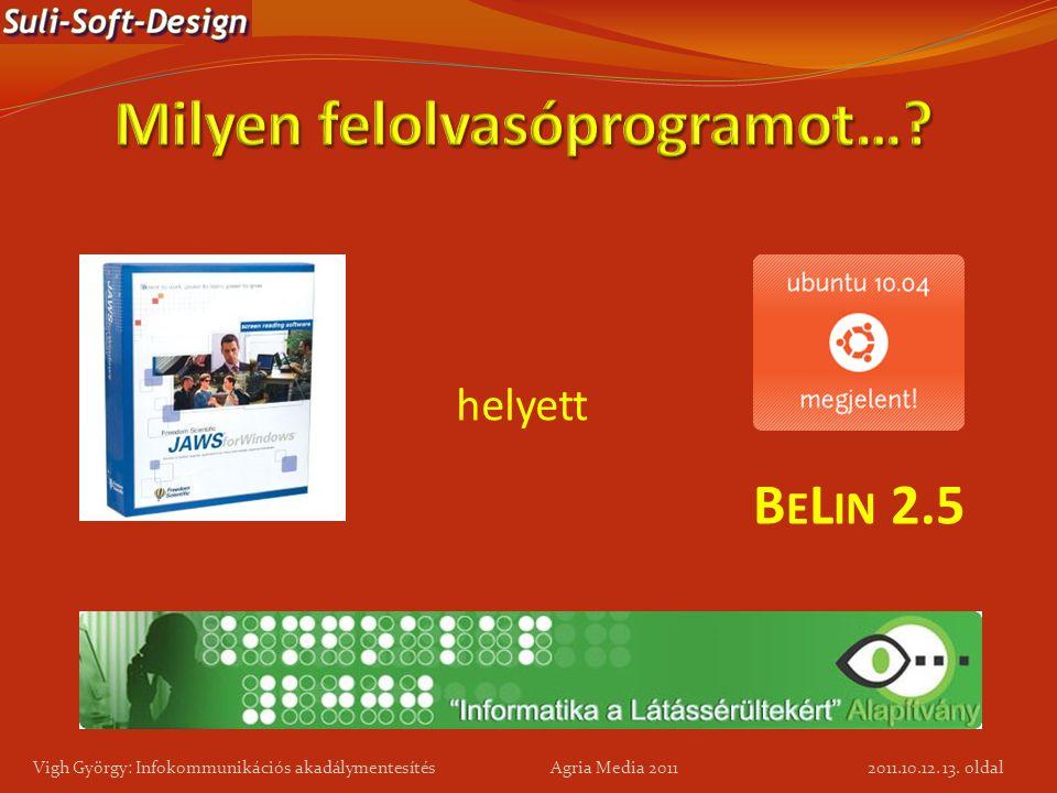 13. oldal Vigh György: Infokommunikációs akadálymentesítés Agria Media 2011 helyett B E L IN 2.5 2011.10.12.