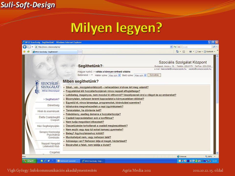 15. oldal Vigh György: Infokommunikációs akadálymentesítés Agria Media 2011 2011.10.12.