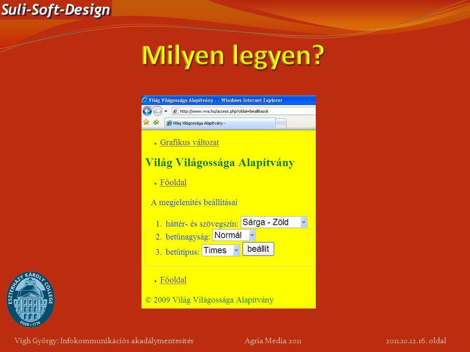 16. oldal Vigh György: Infokommunikációs akadálymentesítés Agria Media 2011 2011.10.12.