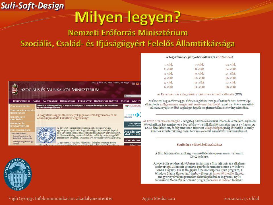 17. oldal Vigh György: Infokommunikációs akadálymentesítés Agria Media 2011 2011.10.12.