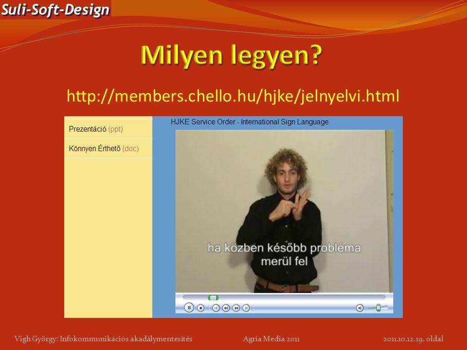 19. oldal Vigh György: Infokommunikációs akadálymentesítés Agria Media 2011 http://members.chello.hu/hjke/jelnyelvi.html 2011.10.12.