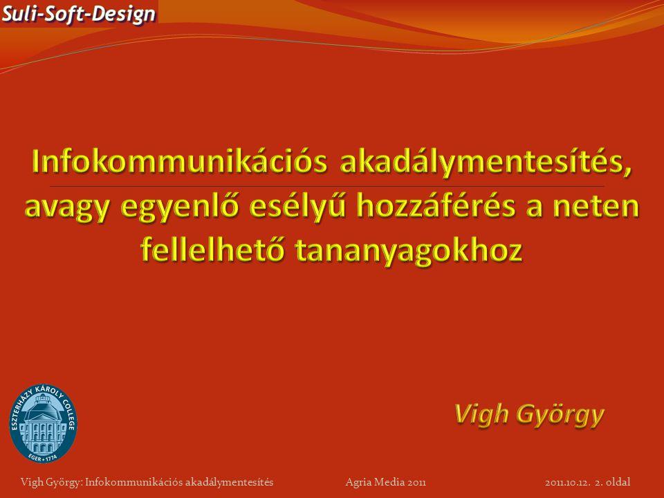 Vigh György: Infokommunikációs akadálymentesítés Agria Media 2011 2. oldal 2011.10.12.