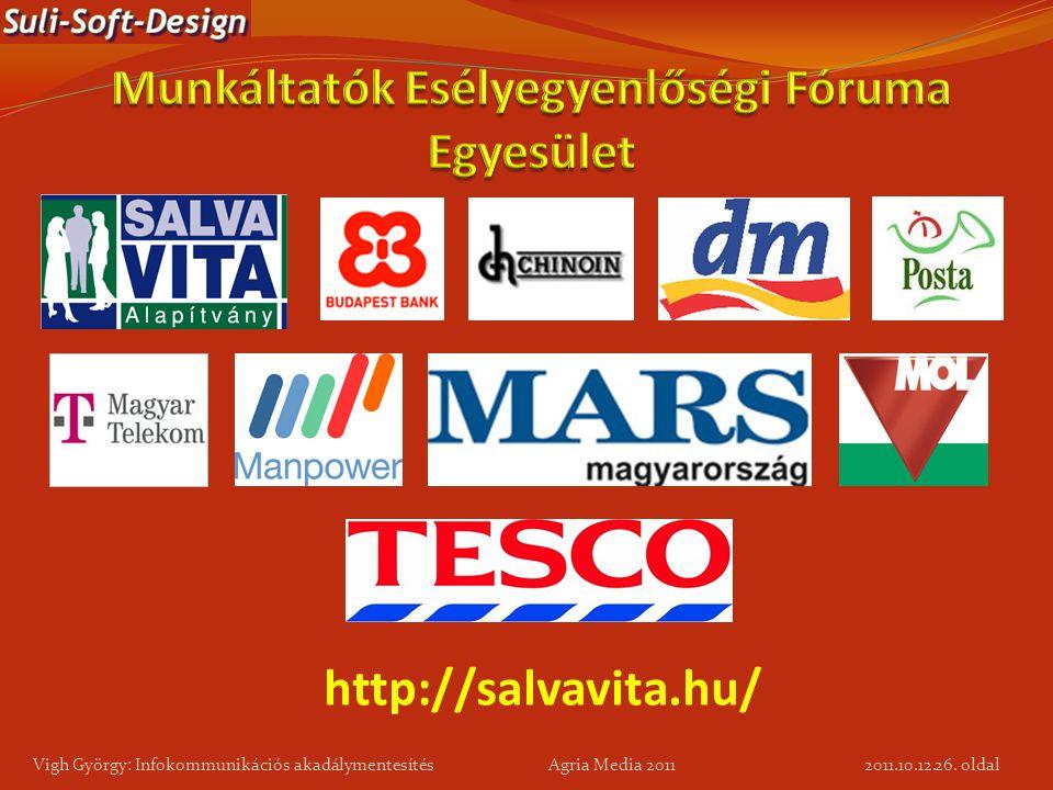 26. oldal Vigh György: Infokommunikációs akadálymentesítés Agria Media 2011 http://salvavita.hu/ 2011.10.12.