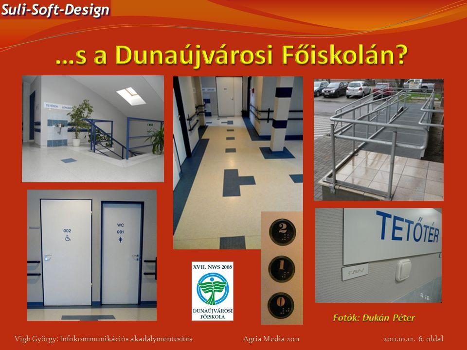 6. oldal Vigh György: Infokommunikációs akadálymentesítés Agria Media 2011 2011.10.12.