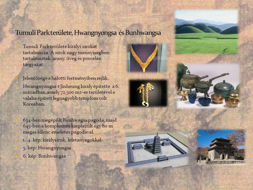  Tumuli Park területe királyi sírokat tartalmazza. A sírok nagy mennyiségben tartalmaztak, arany, üveg és porcelán tárgyakat.  Jelentősége a halotti