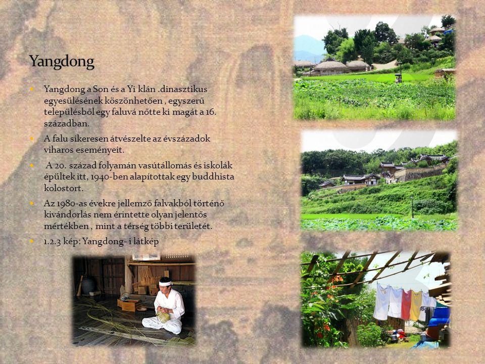  Yangdong a Son és a Yi klán.dinasztikus egyesülésének köszönhetően, egyszerű településből egy faluvá nőtte ki magát a 16. században.  A falu sikere