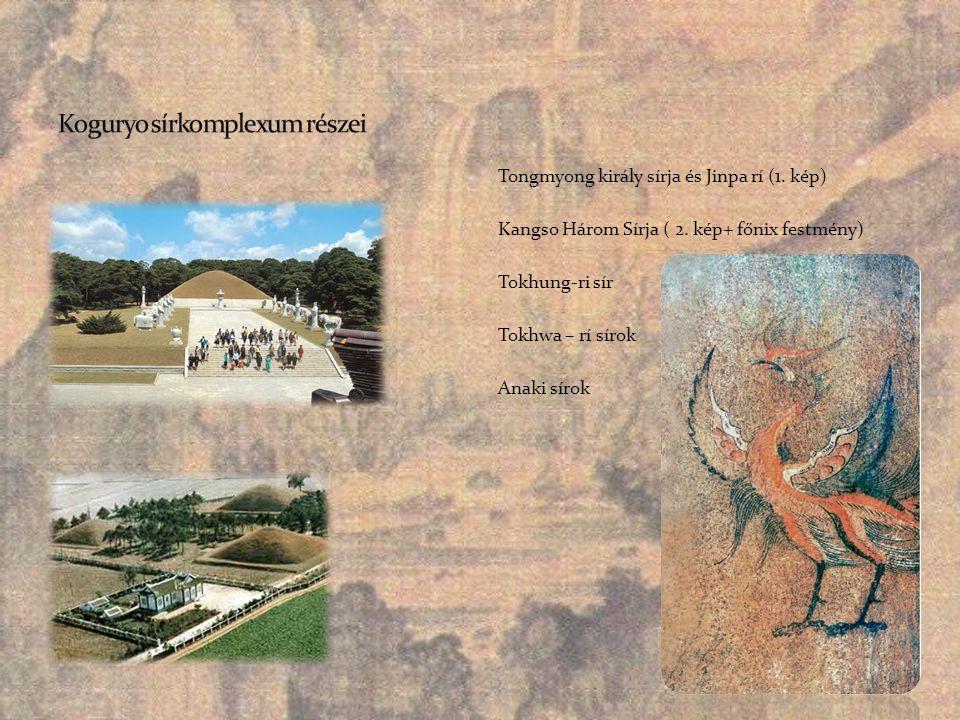 Tongmyong király sírja és Jinpa rí (1. kép) Kangso Három Sírja ( 2. kép+ főnix festmény) Tokhung-ri sír Tokhwa – rí sírok Anaki sírok
