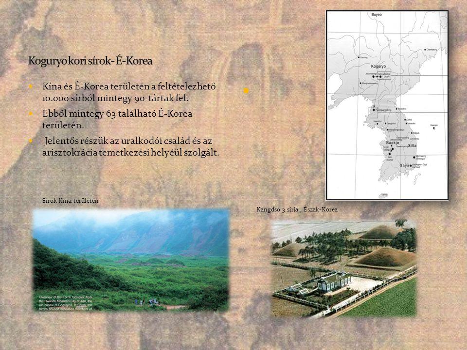  Kína és É-Korea területén a feltételezhető 10.000 sírból mintegy 90-tártak fel.  Ebből mintegy 63 található É-Korea területén.  Jelentős részük az