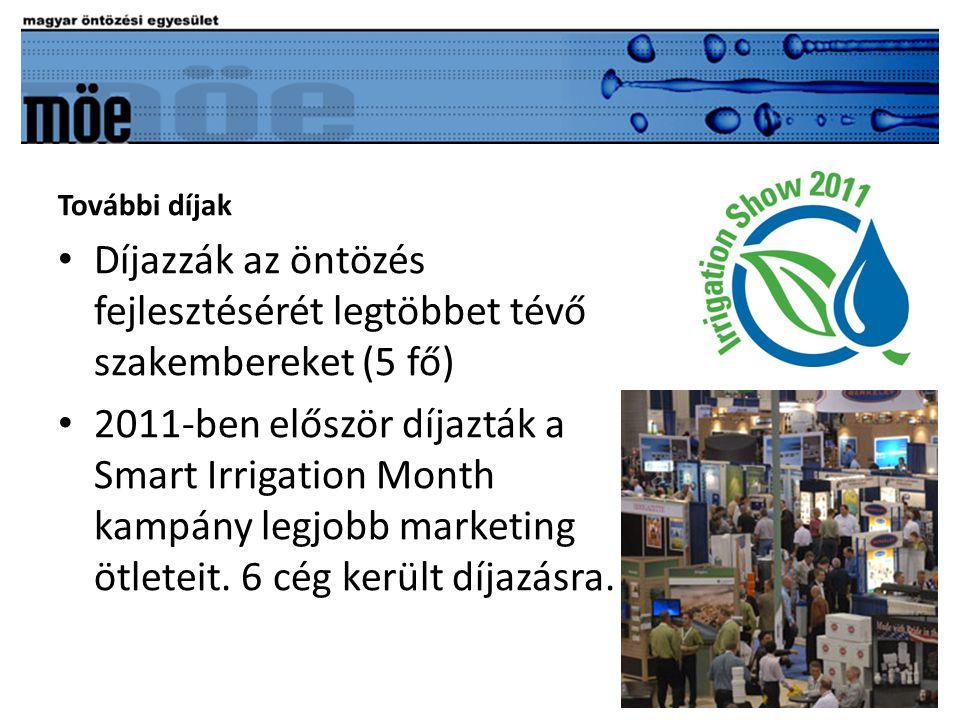 További díjak • Díjazzák az öntözés fejlesztésérét legtöbbet tévő szakembereket (5 fő) • 2011-ben először díjazták a Smart Irrigation Month kampány legjobb marketing ötleteit.