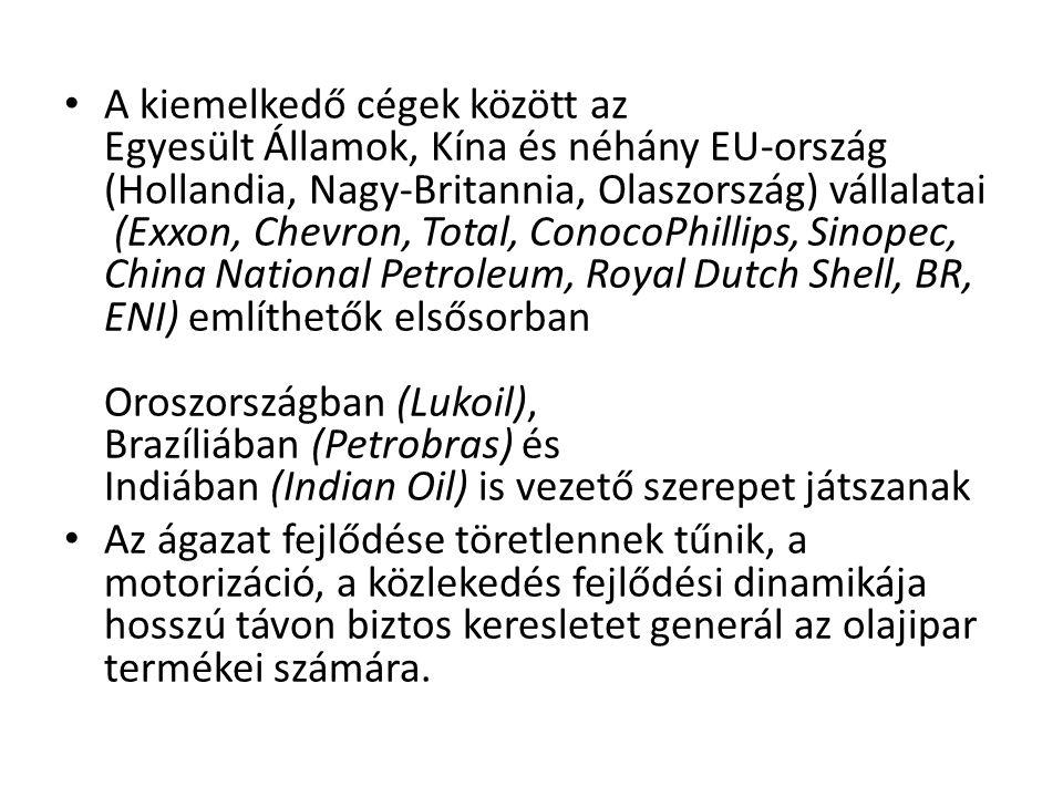 • A kiemelkedő cégek között az Egyesült Államok, Kína és néhány EU-ország (Hollandia, Nagy-Britannia, Olaszország) vállalatai (Exxon, Chevron, Total,