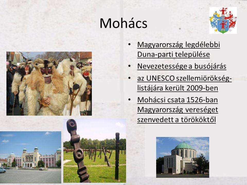 Mohács • Magyarország legdélebbi Duna-parti települése • Nevezetessége a busójárás • az UNESCO szellemiörökség- listájára került 2009-ben • Mohácsi cs