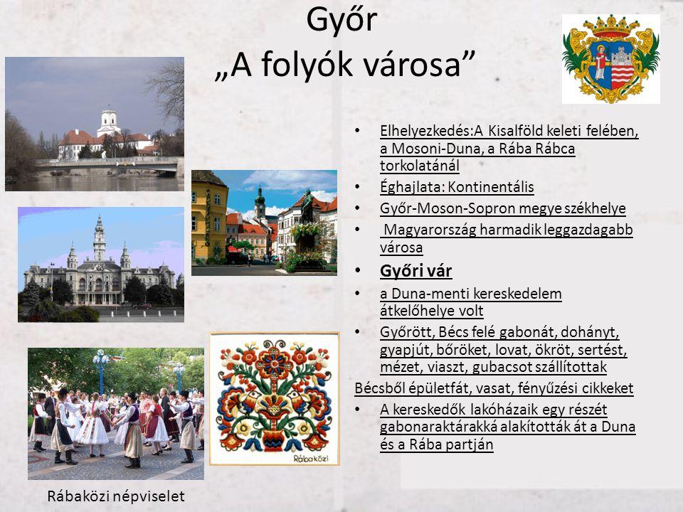"""Győr """"A folyók városa"""" • Elhelyezkedés:A Kisalföld keleti felében, a Mosoni-Duna, a Rába Rábca torkolatánál • Éghajlata: Kontinentális • Győr-Moson-So"""