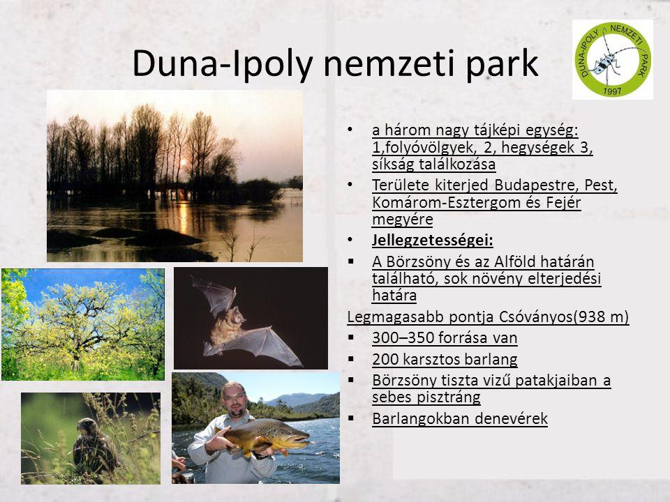 Duna-Ipoly nemzeti park • a három nagy tájképi egység: 1,folyóvölgyek, 2, hegységek 3, síkság találkozása • Területe kiterjed Budapestre, Pest, Komáro