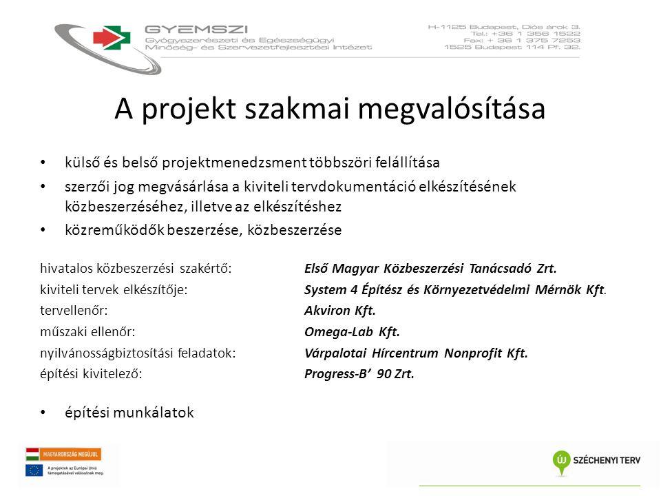 A projekt szakmai megvalósítása • külső és belső projektmenedzsment többszöri felállítása • szerzői jog megvásárlása a kiviteli tervdokumentáció elkés