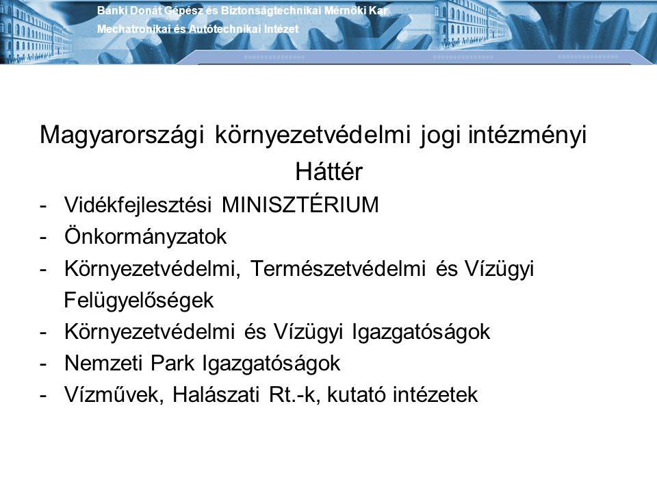 Magyarországi környezetvédelmi jogi intézményi Háttér -Vidékfejlesztési MINISZTÉRIUM -Önkormányzatok -Környezetvédelmi, Természetvédelmi és Vízügyi Felügyelőségek -Környezetvédelmi és Vízügyi Igazgatóságok -Nemzeti Park Igazgatóságok -Vízművek, Halászati Rt.-k, kutató intézetek Bánki Donát Gépész és Biztonságtechnikai Mérnöki Kar Mechatronikai és Autótechnikai Intézet