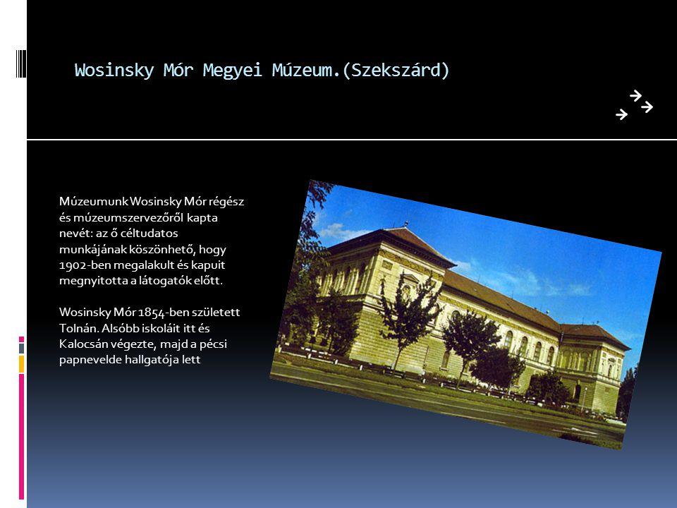 Wosinsky Mór Megyei Múzeum.(Szekszárd) Múzeumunk Wosinsky Mór régész és múzeumszervezőről kapta nevét: az ő céltudatos munkájának köszönhető, hogy 190