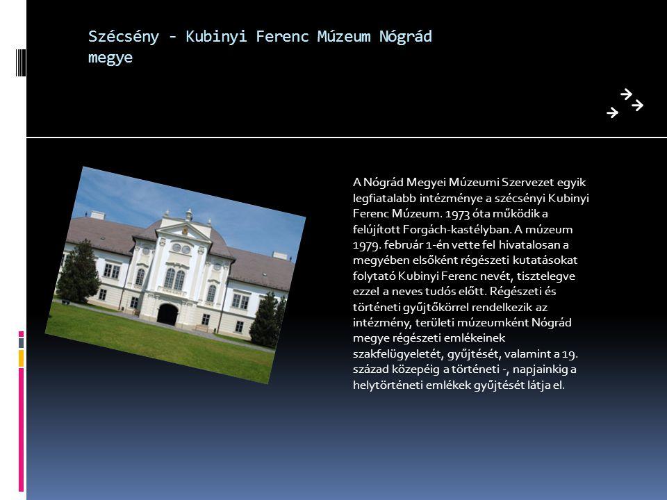 Szécsény - Kubinyi Ferenc Múzeum Nógrád megye A Nógrád Megyei Múzeumi Szervezet egyik legfiatalabb intézménye a szécsényi Kubinyi Ferenc Múzeum. 1973