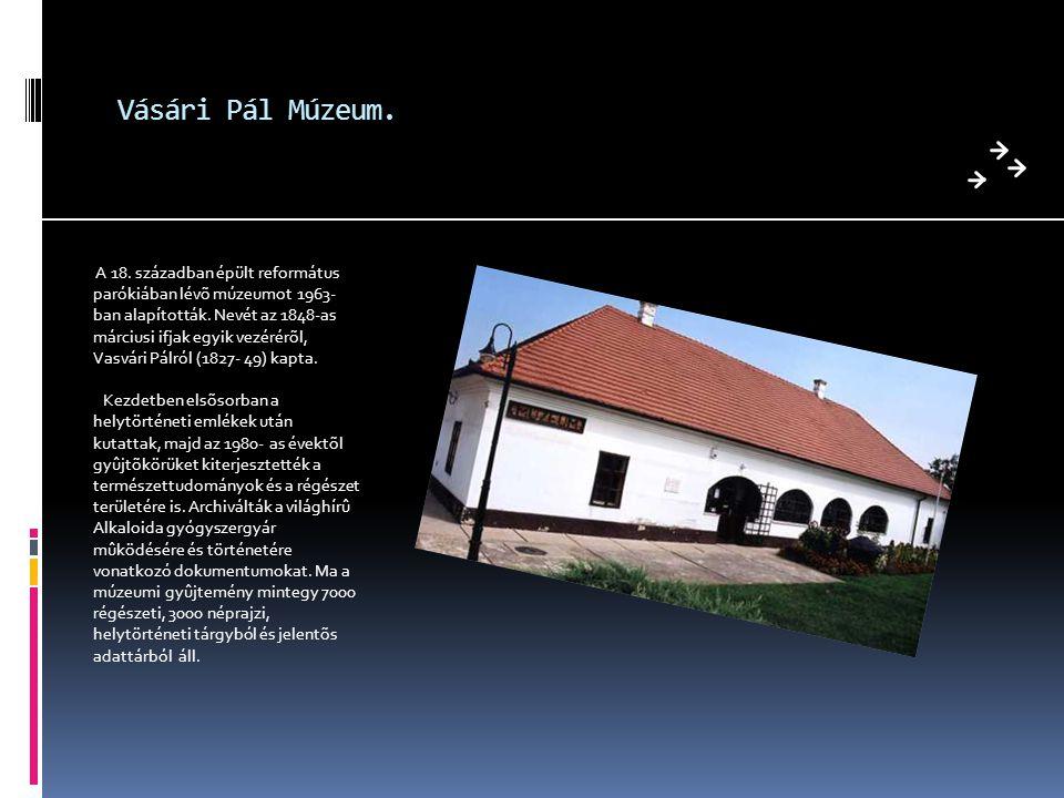 Vásári Pál Múzeum. A 18. században épült református parókiában lévõ múzeumot 1963- ban alapították. Nevét az 1848-as márciusi ifjak egyik vezérérõl, V
