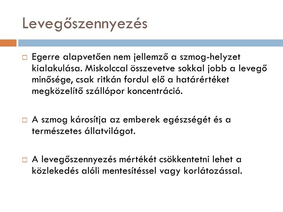 Levegőszennyezés  Egerre alapvetően nem jellemző a szmog-helyzet kialakulása.