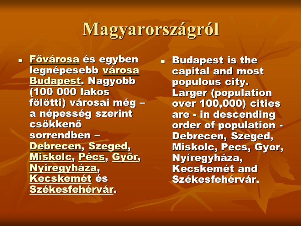 Magyarországról  Fővárosa és egyben legnépesebb városa Budapest. Nagyobb (100 000 lakos fölötti) városai még – a népesség szerint csökkenő sorrendben