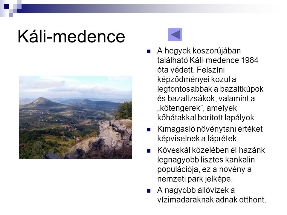 Káli-medence  A hegyek koszorújában található Káli-medence 1984 óta védett. Felszíni képződményei közül a legfontosabbak a bazaltkúpok és bazaltzsáko