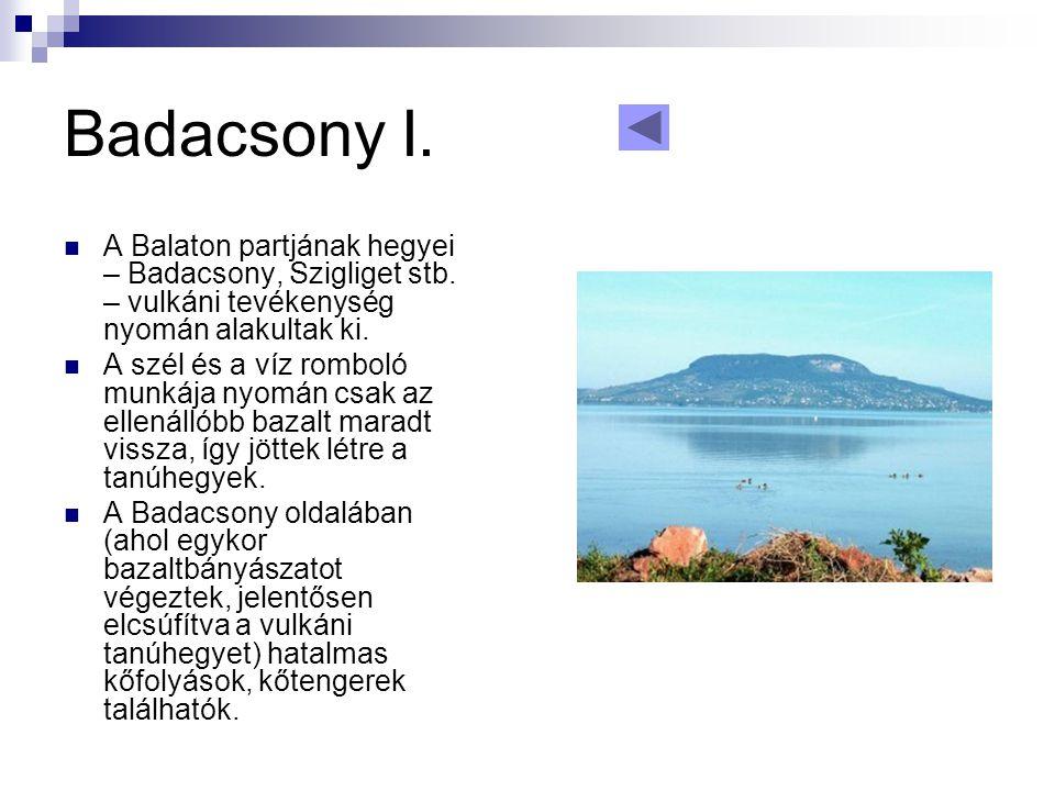 Badacsony I.  A Balaton partjának hegyei – Badacsony, Szigliget stb. – vulkáni tevékenység nyomán alakultak ki.  A szél és a víz romboló munkája nyo