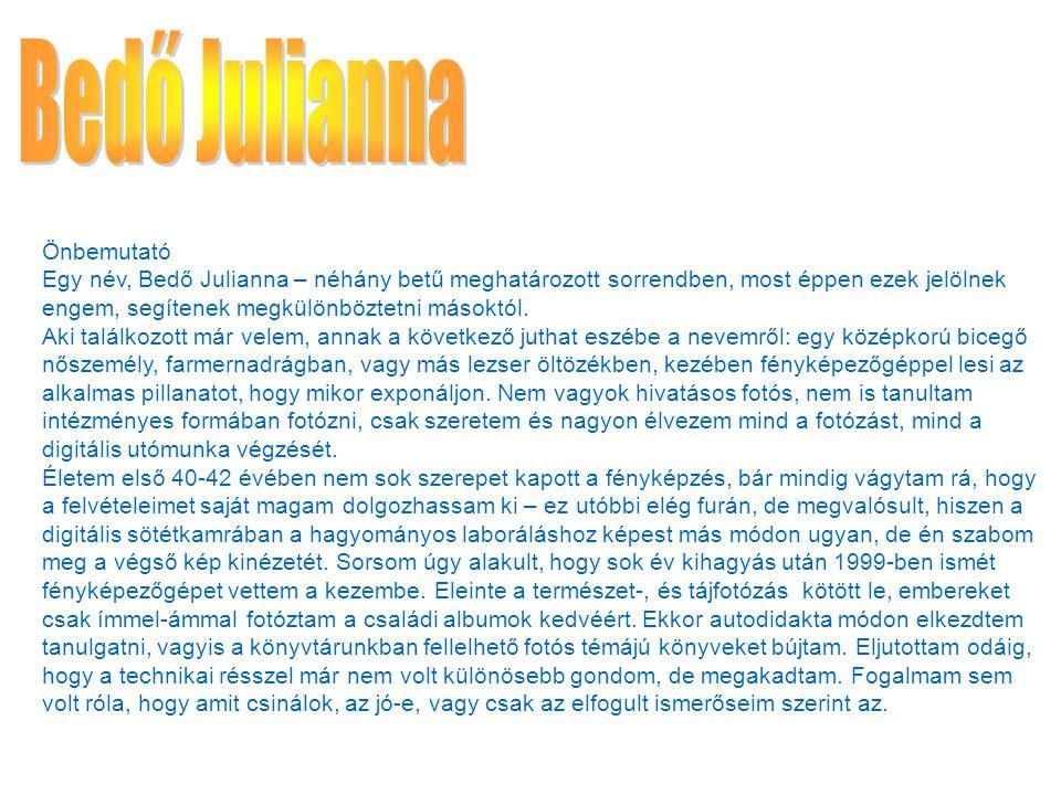 Önbemutató Egy név, Bedő Julianna – néhány betű meghatározott sorrendben, most éppen ezek jelölnek engem, segítenek megkülönböztetni másoktól.