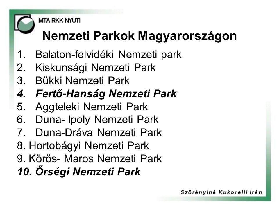 Nemzeti Parkok Magyarországon 1.Balaton-felvidéki Nemzeti park 2.Kiskunsági Nemzeti Park 3.Bükki Nemzeti Park 4.Fertő-Hanság Nemzeti Park 5.Aggteleki Nemzeti Park 6.Duna- Ipoly Nemzeti Park 7.Duna-Dráva Nemzeti Park 8.