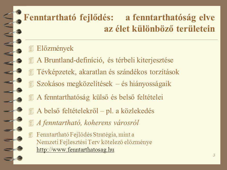 4 4 Akik számára a 'fenntarthatóság' nem volt újdonság: ökológusok, mezőgazdák, erdészeti szakemberek 4 Erdészet: 'tartamos erdőgazdálkodás' 4 A Helsinki Miniszteri Konferencia (1993) definíciója: ' A tartamos erdőgazdálkodás azt jelenti, hogy az erdőket és fás területeket olyan módon kell gondozni és használni, hogy azok –biológiai változatossága, termőképessége, felújítási kapacitása és életenergiája megmaradjon –meghatározó környezeti, gazdasági és társadalmi funkcióknak megfeleljen –más környezeti rendszerek ne károsodjanak.' 4 Tarvágás – a fakitermelés rövid távú (fázis-)racionalitása Előzmények