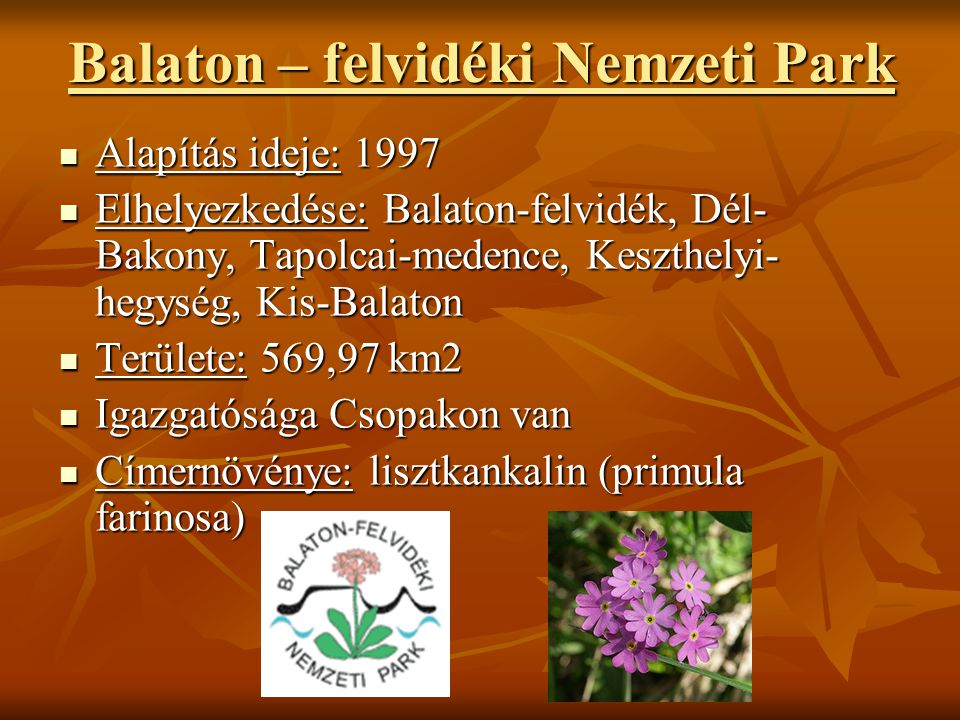 Balaton – felvidéki Nemzeti Park  Alapítás ideje: 1997  Elhelyezkedése: Balaton-felvidék, Dél- Bakony, Tapolcai-medence, Keszthelyi- hegység, Kis-Ba