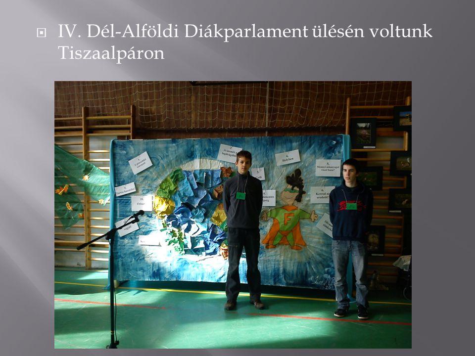  IV. Dél-Alföldi Diákparlament ülésén voltunk Tiszaalpáron