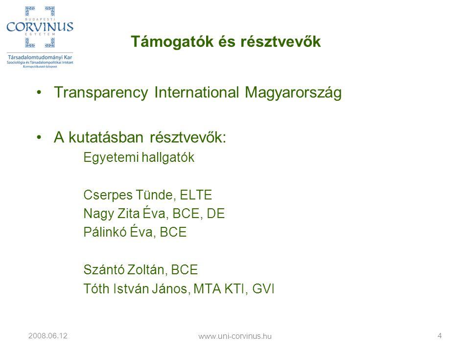 •Transparency International Magyarország •A kutatásban résztvevők: Egyetemi hallgatók Cserpes Tünde, ELTE Nagy Zita Éva, BCE, DE Pálinkó Éva, BCE Szán