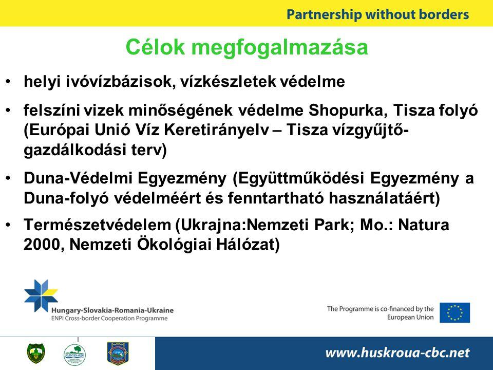 Célok megfogalmazása •helyi ivóvízbázisok, vízkészletek védelme •felszíni vizek minőségének védelme Shopurka, Tisza folyó (Európai Unió Víz Keretirányelv – Tisza vízgyűjtő- gazdálkodási terv) •Duna-Védelmi Egyezmény (Együttműködési Egyezmény a Duna-folyó védelméért és fenntartható használatáért) •Természetvédelem (Ukrajna:Nemzeti Park; Mo.: Natura 2000, Nemzeti Ökológiai Hálózat)