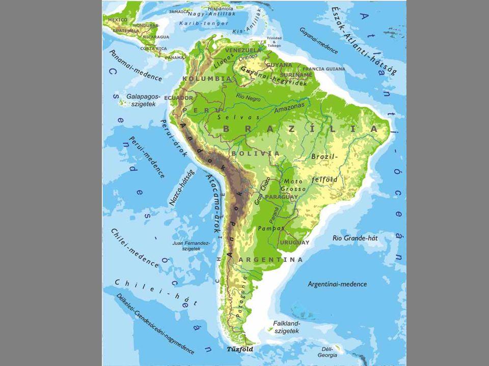 Dél Amerika Dél-Amerika területe 17 840 000 km² a Föld felszínének kb.