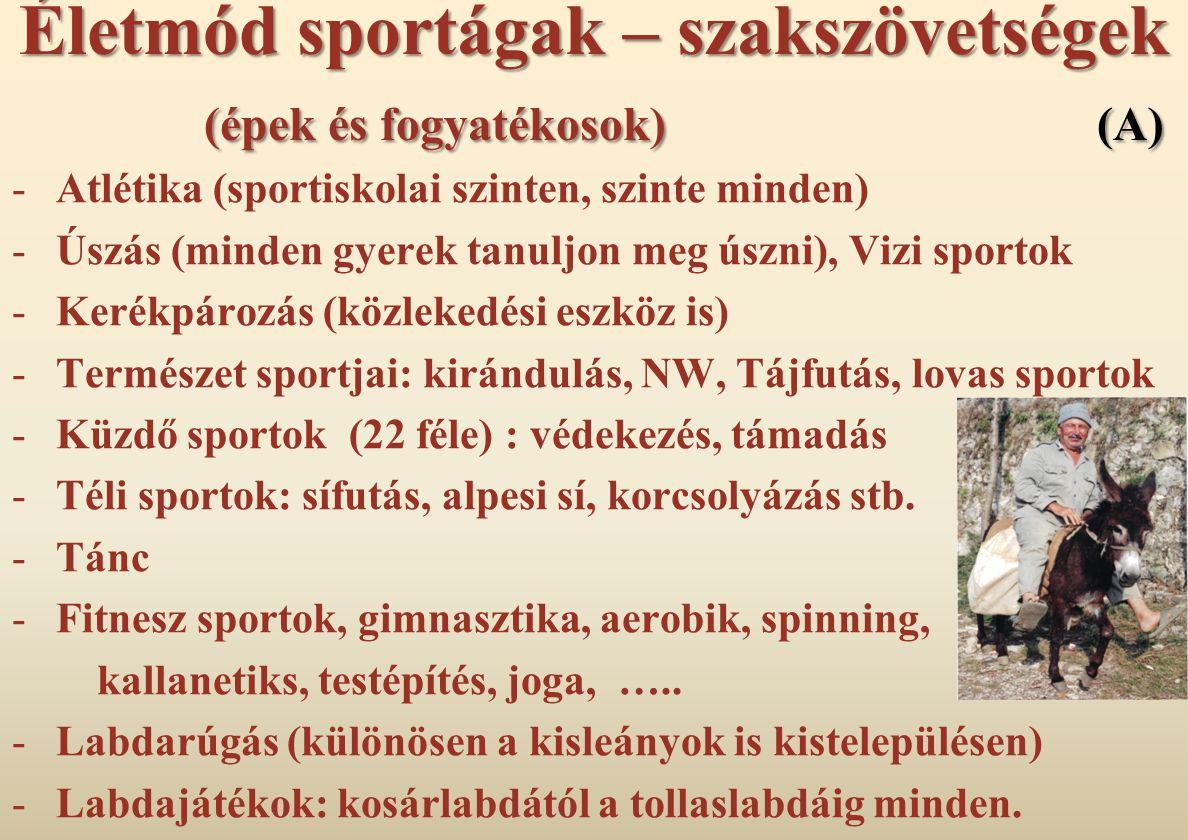 Életmód sportágak – szakszövetségek (épek és fogyatékosok) (A) -Atlétika (sportiskolai szinten, szinte minden) -Úszás (minden gyerek tanuljon meg úszn