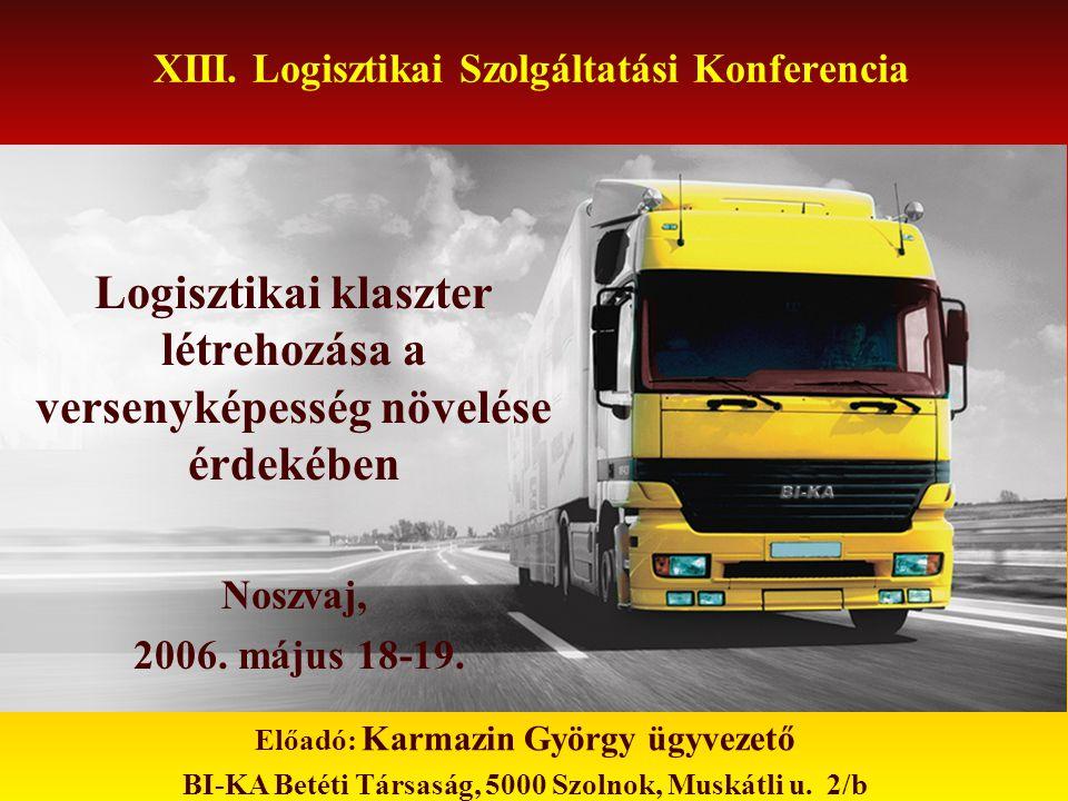 XIII. Logisztikai Szolgáltatási Konferencia Logisztikai klaszter létrehozása a versenyképesség növelése érdekében Noszvaj, 2006. május 18-19. Előadó: