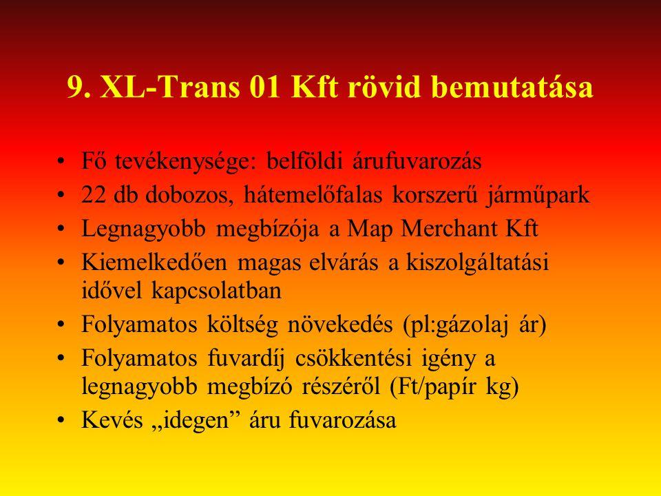 9. XL-Trans 01 Kft rövid bemutatása •Fő tevékenysége: belföldi árufuvarozás •22 db dobozos, hátemelőfalas korszerű járműpark •Legnagyobb megbízója a M