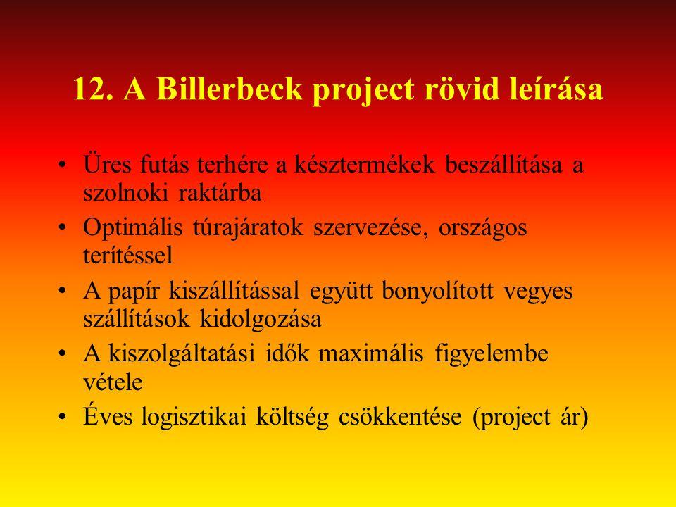 12. A Billerbeck project rövid leírása •Üres futás terhére a késztermékek beszállítása a szolnoki raktárba •Optimális túrajáratok szervezése, országos