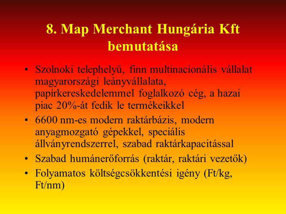 8. Map Merchant Hungária Kft bemutatása •Szolnoki telephelyű, finn multinacionális vállalat magyarországi leányvállalata, papírkereskedelemmel foglalk