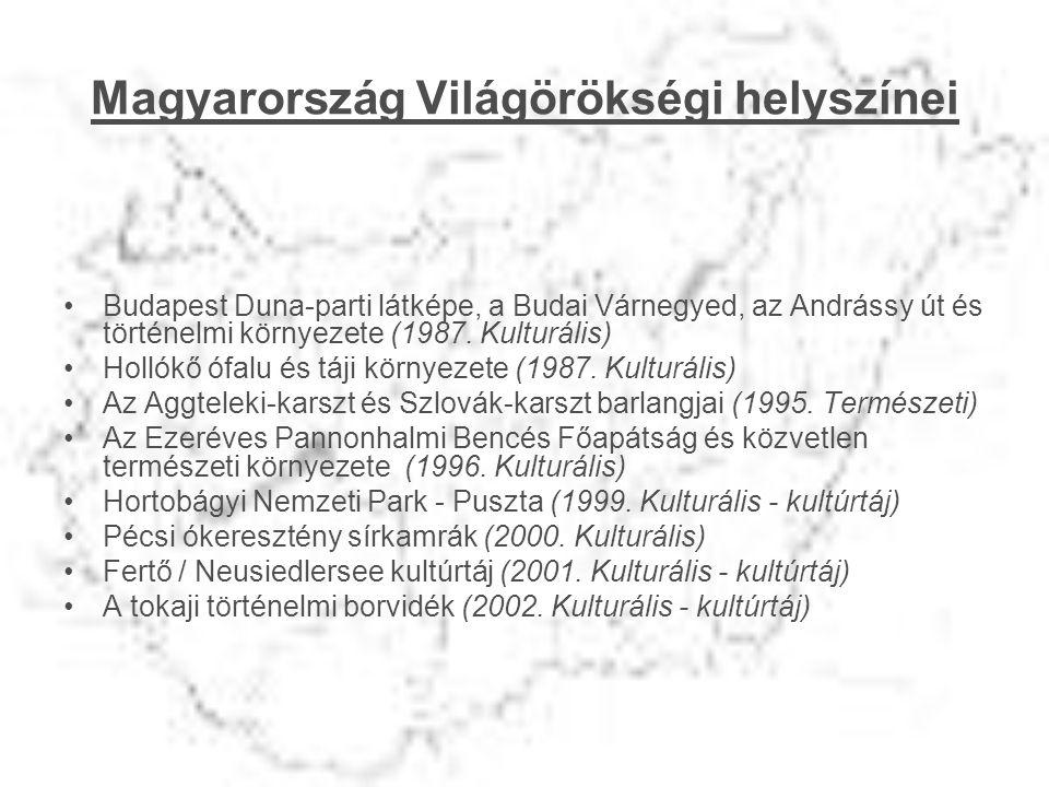 Magyarország Világörökségi helyszínei •Budapest Duna-parti látképe, a Budai Várnegyed, az Andrássy út és történelmi környezete (1987. Kulturális) •Hol