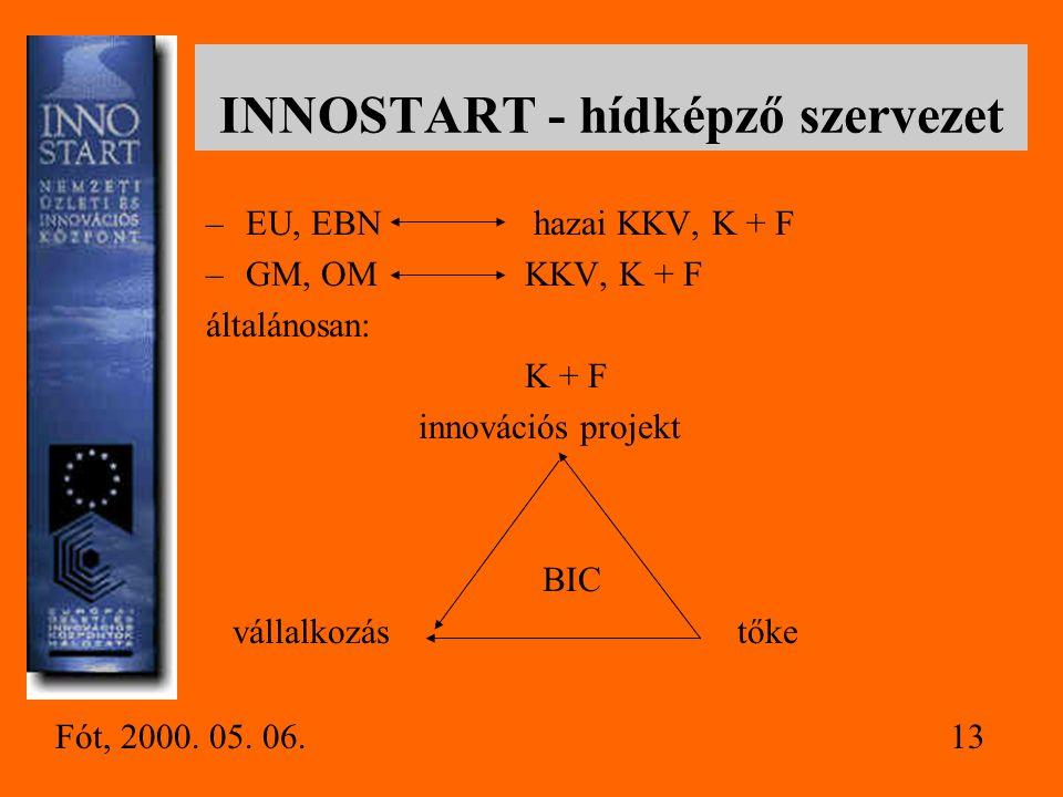 EBN - European Business and Innovation Centres Network - –150 BIC –nemzetközi együttműködés –partnerközvetítés –kiérlelt módszerek, know-how-k –működé